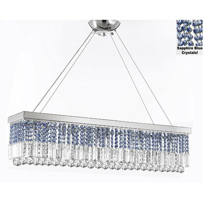 Contemporary Rectangular 10-Light Crystal Chandelier Crystal Color: Sapphire Blue
