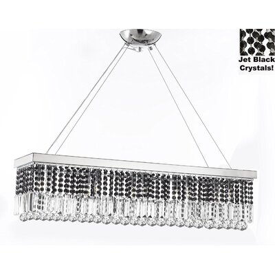 Contemporary Rectangular 10-Light Crystal Chandelier Crystal Color: Jet Black