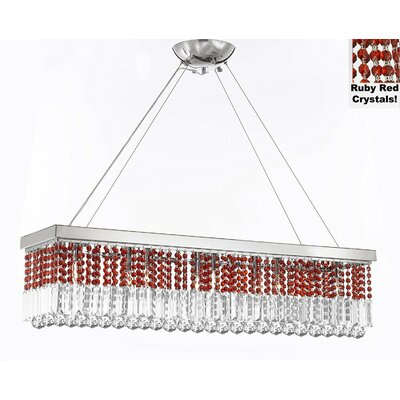 Contemporary Rectangular 10-Light Crystal Chandelier Crystal Color: Ruby Red