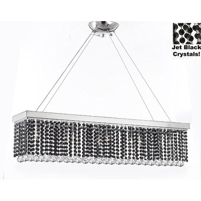 Contemporary Rectangular 10-Light Crystal Chandelier