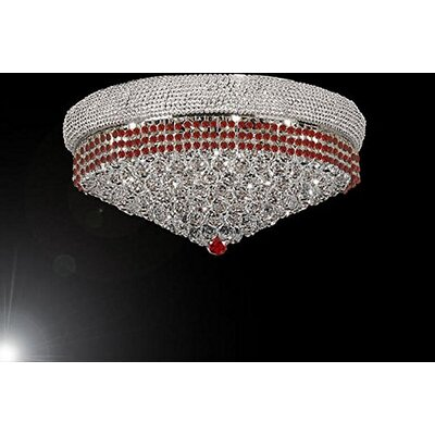 Stewart 14-Light Flush Mount Finish: Ruby Red