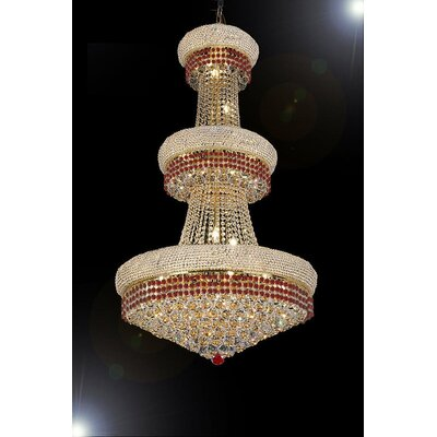 Stewart 24-Light Crystal Chandelier Finish: Ruby Red