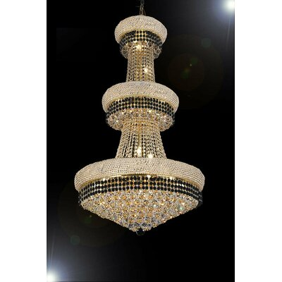 Stewart 24-Light Crystal Chandelier Finish: Jet Black