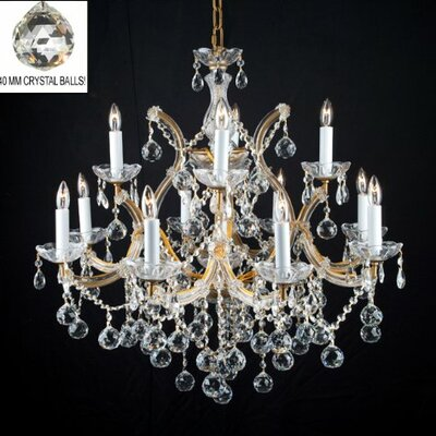 Alvarado 13-Light Gold/Clear Crystal Chandelier