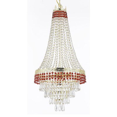 Stewart 4-Light Crystal Chandelier Finish: Ruby Red