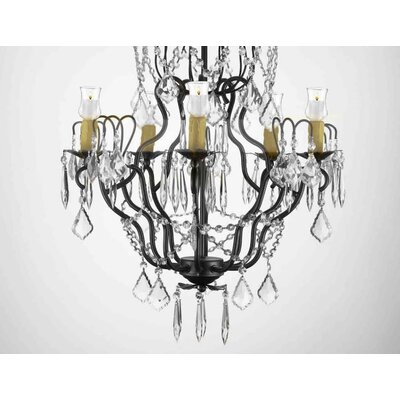 Clemence 5-Light Black Crystal Chandelier