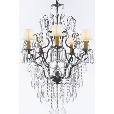 Clemence 5-Light Black/White Crystal Chandelier