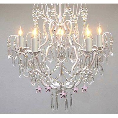 Roko 5-Light 40W White Crystal Chandelier