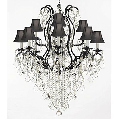 Clemence  Swarovski Wrought Trimmed 12-Light Shaded Crystal Chandelier Shade Color: Black
