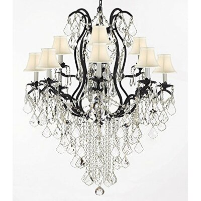Clemence  Swarovski Wrought Trimmed 12-Light Shaded Crystal Chandelier Shade Color: White