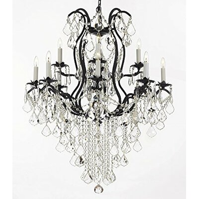 Clemence Wrought Empress 12-Light Crystal Chandelier