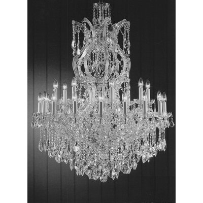 Alvarado 25-Light Crystal Glass Chandelier Finish: Silver