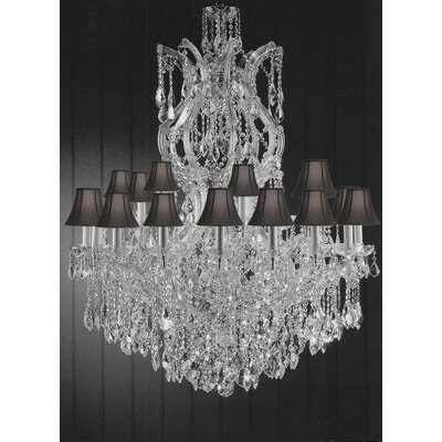 Alvarado 25-Light Shaded Crystal Chandelier Shade Color: Black