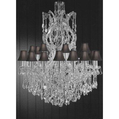 Alvarado 25-Light Shaded Crystal Chandelier Shade Color: Black