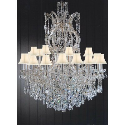 Alvarado 25-Light Shaded Crystal Chandelier Shade Color: White