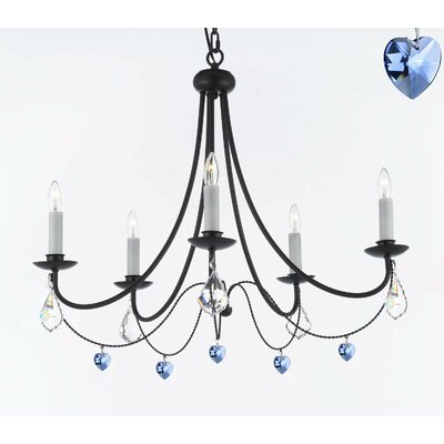 Bowey Wrought Iron 5-Light Candle-Style Chandelier