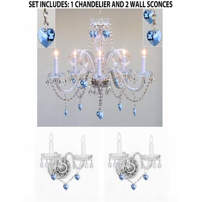 Bowyer Hearts 5-Light Crystal Chandelier