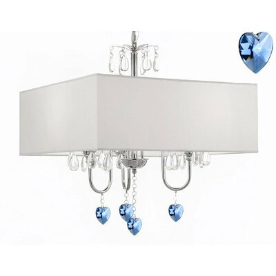 Alexandra 3-Light Drum Chandelier Shade Color: White