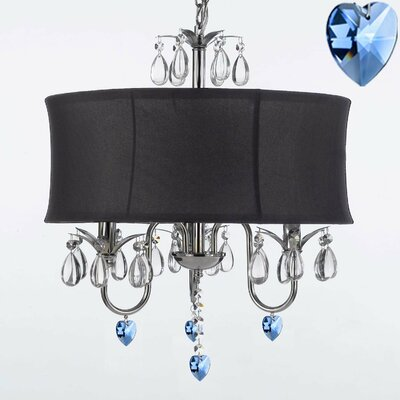 Canberra 3-Light Drum Chandelier Shade Color: Black