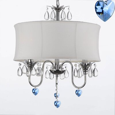 Canberra 3-Light Drum Chandelier Shade Color: White