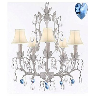 Aloha 5-Light Crystal Chandelier Shade Color: White
