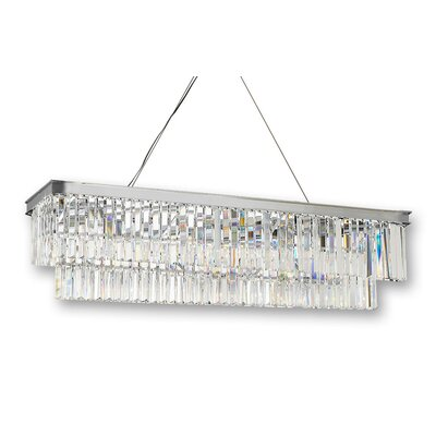 Ione Glass Fringe Rectangular Lighting 10-Light Crystal Chandelier