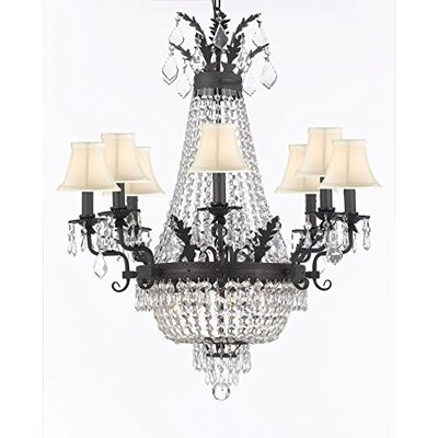 Hera Crystal 12-Light Empire Chandelier Shade Color: White