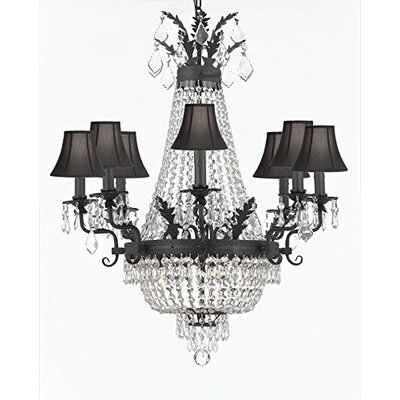 Ginnie Crystal 12-Light Shaded Chandelier Shade Color: Black, Crystal Color: Clear