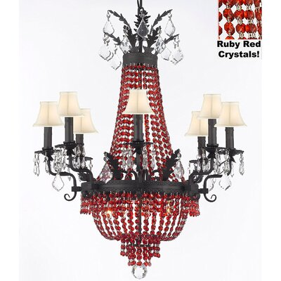 Ginnie Crystal 12-Light Shaded Chandelier Shade Color: White, Crystal Color: Ruby Red