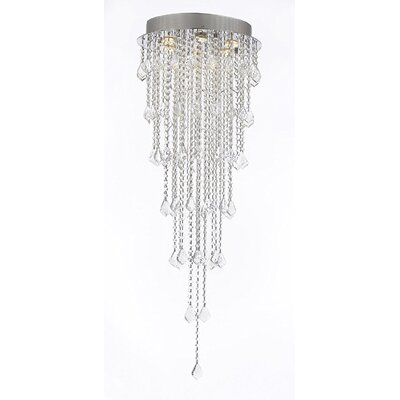 Brigida Crystal Rain Drop 6-Light Flush Mount Size: 50 H x 18 W x 18 D