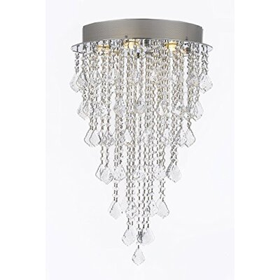 Brigida Crystal Rain Drop 6-Light Flush Mount Size: 32 H x 18 W x 18 D