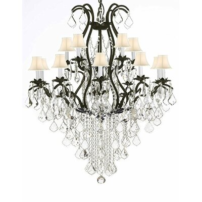 Riverport Wrought Iron 15-Light Crystal Chandelier Shade Color: White