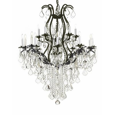 Stephen Wrought Iron 15-Light Crystal Chandelier