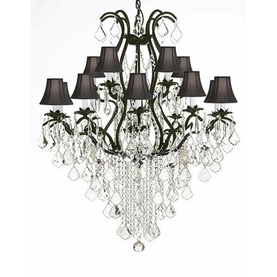 Riverport Wrought Iron 15-Light Crystal Chandelier Shade Color: Black