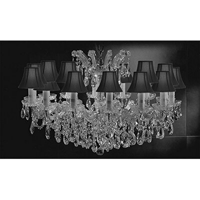Alvarado Empress 14-Light Traditional Crystal Chandelier Shade Color: Black, Finish: Silver