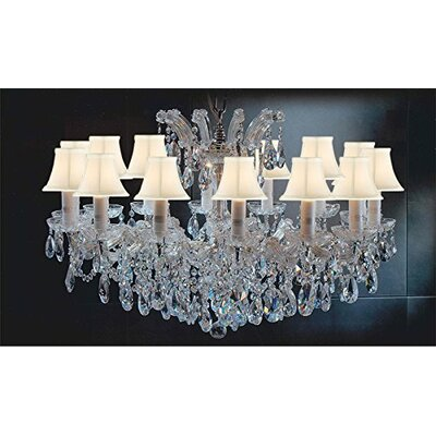 Alvarado Empress 14-Light Traditional Crystal Chandelier Shade Color: White, Finish: Gold