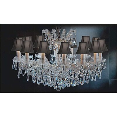 Alvarado Empress 14-Light Traditional Crystal Chandelier Shade Color: Black, Color: Gold