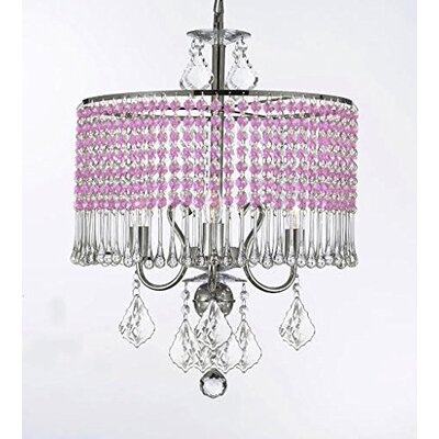 Parson 3-Light Crystal Chandelier Shade Color: Pink