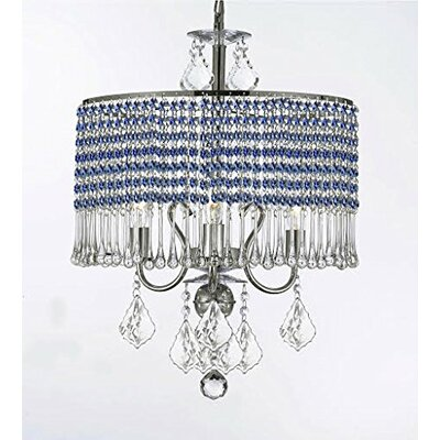 Parson 3-Light Crystal Chandelier Shade Color: Blue