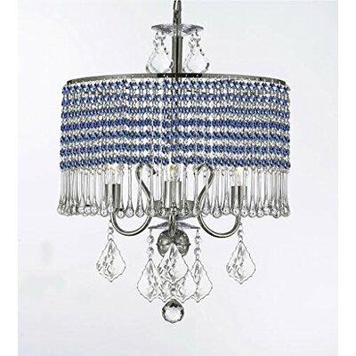 Parson 3-Light Crystal Chandelier Shade Color: Blue