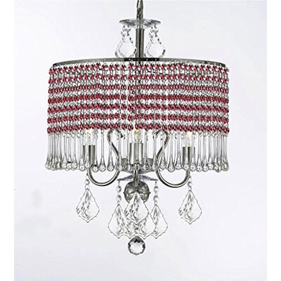 Parson 3-Light Crystal Chandelier Shade Color: Red