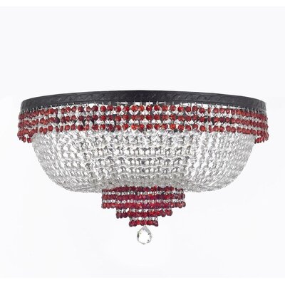 Monika 9-Light Flush Mount Finish: Red