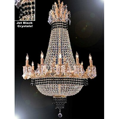 Wein 15-Light Empire Chandelier Finish: Gold, Crystal Color: Black