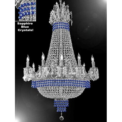 Wein 15-Light Empire Chandelier Finish: Silver, Crystal Color: Blue