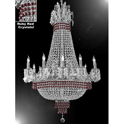Weimer 15-Light Empire Chandelier Finish: Silver, Crystal Color: Red