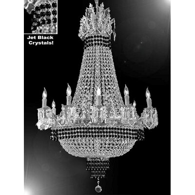Wein 15-Light Empire Chandelier Finish: Silver, Crystal Color: Black