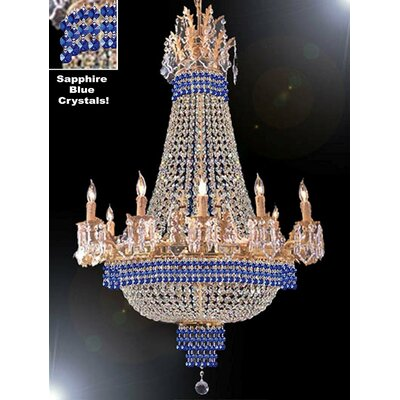 Wein 15-Light Empire Chandelier Finish: Gold, Crystal Color: Blue