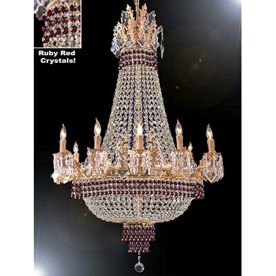 Wein 15-Light Empire Chandelier Finish: Gold, Crystal Color: Red