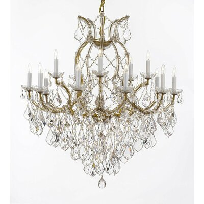 Weidler 16-Light Hardwire Crystal Chandelier Finish: Gold