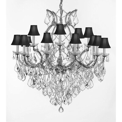 Weidler 16-Light Fabric Shade Chain Crystal Chandelier